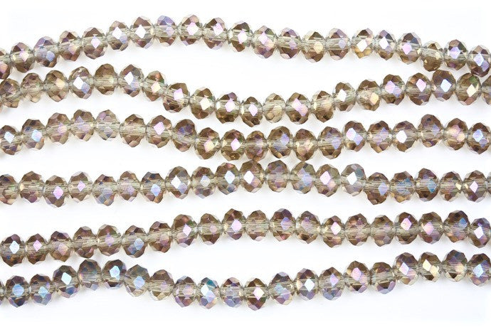 40cm strand of Smokey AB 4x6mm rondelle crystal beads