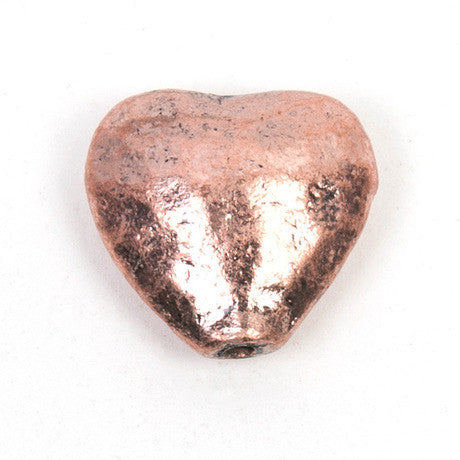 10 x Copper Hammered Heart