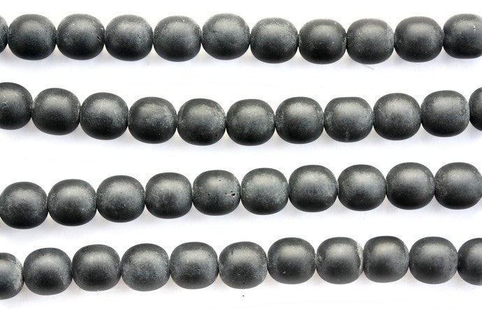 40cm Strand of 10mm Round Black Matt Glass Beads