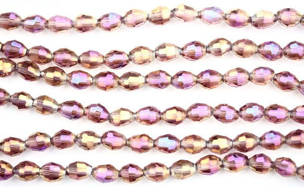 40cm strand of 8x11mm Dusty Pink rice crystal beads