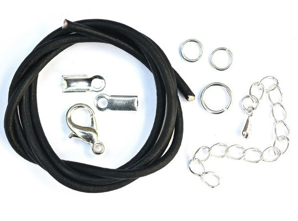 Leather Necklace Kit contains components and instructions.