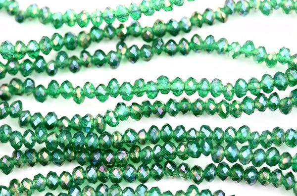 40cm strand of Green AB 2x3mm crystal rondelle beads