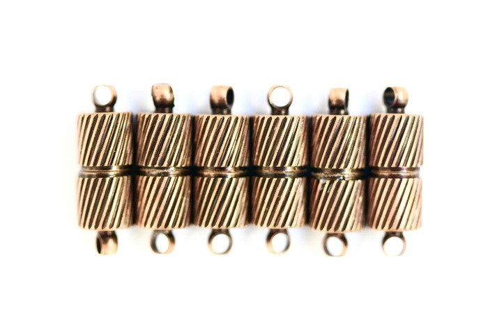 6 x Copper Magnetic Barrel Clasps