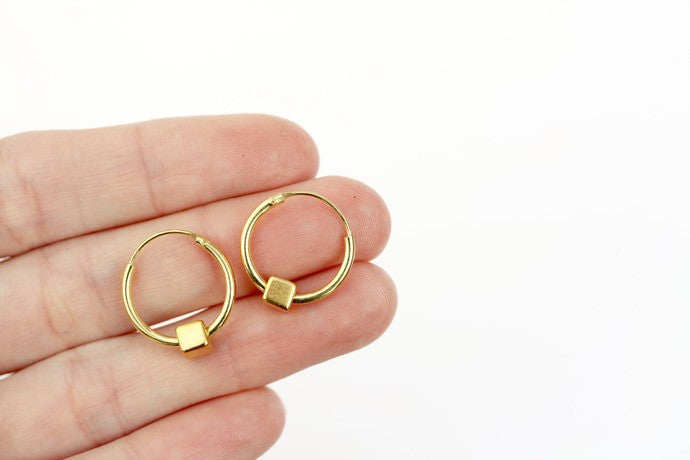 15mm Gold Hoops with Gold Cube