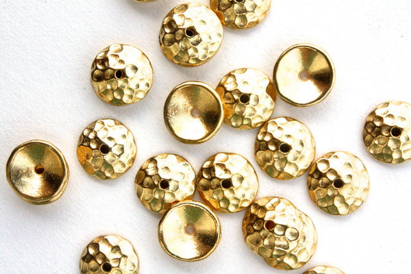 10 x 6mm Real Gold Plated Hammered Bead Cap