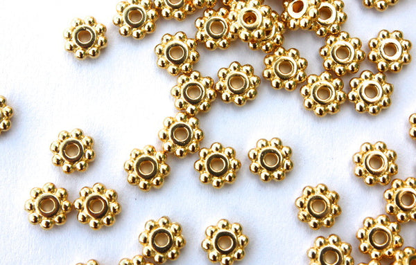 20 x 4mm Gold Plated Flower Spacer