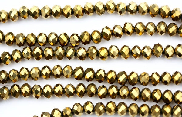 40cm strand of Metallic Gold 4x6mm rondelle crystal beads