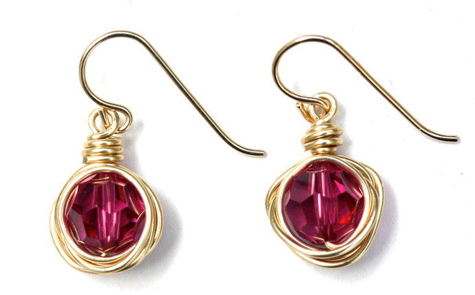 Pink Swarovski Nest Earrings
