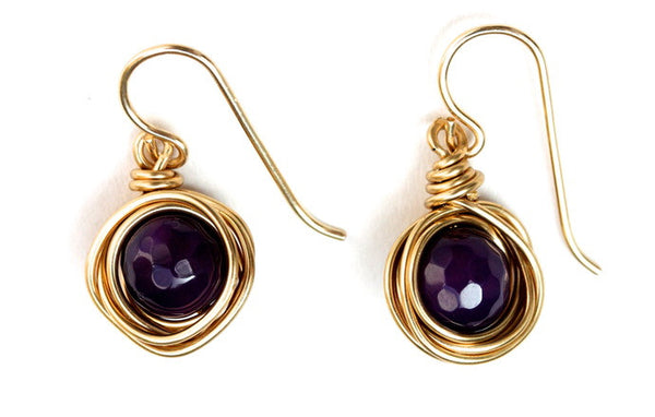 Purple Agate Nest Earrings