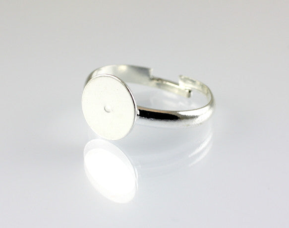 10 x Silver Ring Base