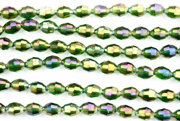 40cm strand of 8x11mm Green AB rice crystal beads