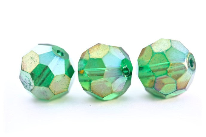10 x Green AB 14mm round glass crystal beads