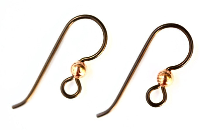 Niobium (Hypoallergenic) Copper French Hook Earwires with 3mm bead