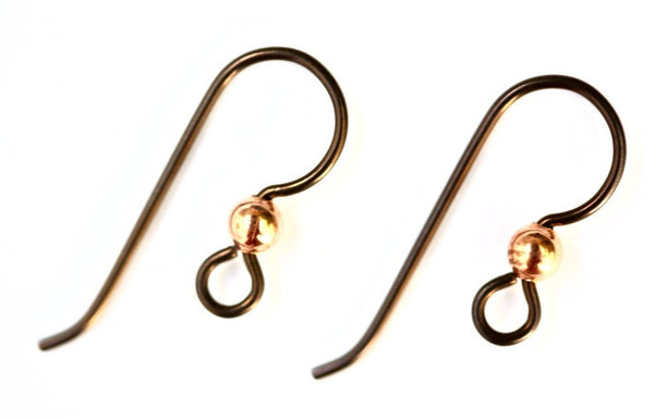 1 pair Copper Tierracast Earwires 3mm