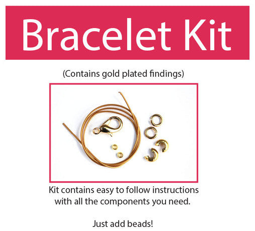 Make your own beaded bracelet kit (gold plated) contains all components & instructions