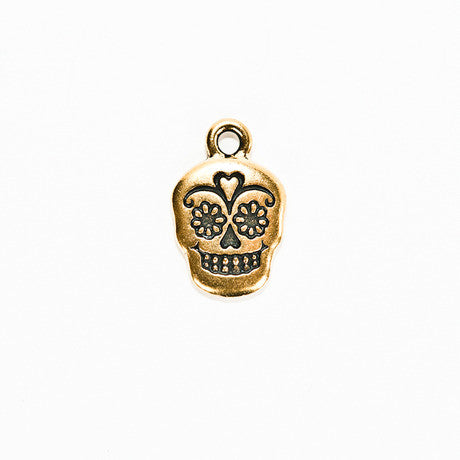 Tierracast Sugar Skull Charm - Gold