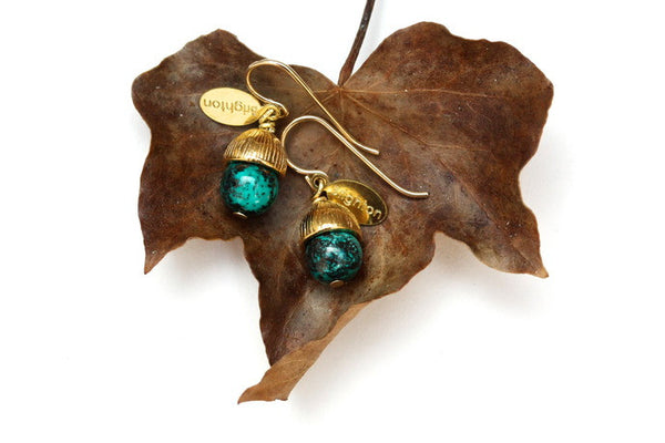 Chrysocolla Acorn Earrings