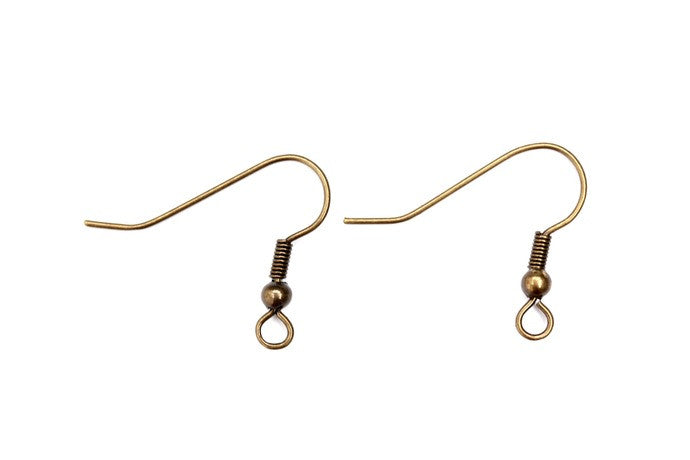 Brass Fish Hook Earwires - 5 pairs