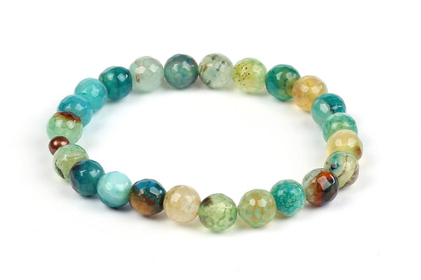 Kerrie Berrie Colourful Elasticated Genuine Real Agate Bracelet in Aqua Blue Tones