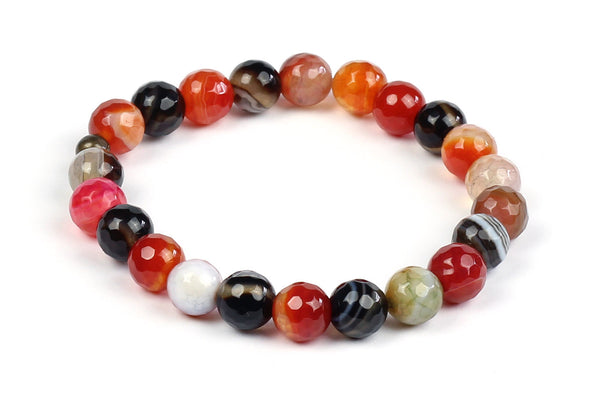 Kerrie Berrie Colourful Elasticated Genuine Real Agate Bracelet in Orange Tones