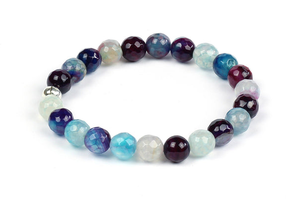 Kerrie Berrie Colourful Elasticated Genuine Real Agate Bracelet in Multi Colour Blue and Purple