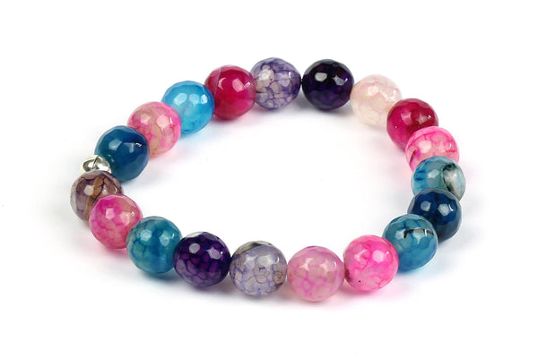 Kerrie Berrie Colourful Elasticated Genuine Real Agate Bracelet in Multi Colour Teal and Pink