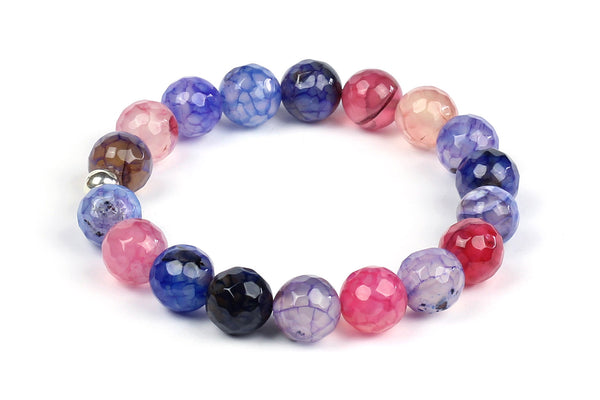 Kerrie Berrie Colourful Elasticated Genuine Real Agate Bracelet in Multi Colour Purple and Pink