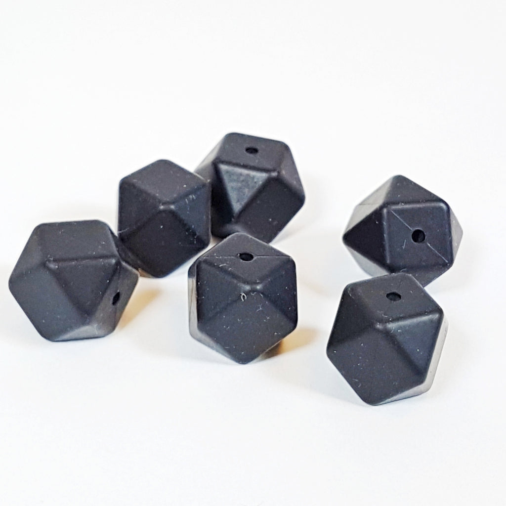 Black - 18mm Hexagon Silicone Beads
