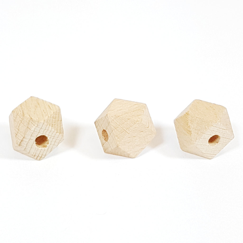 18mm Hexagon Natural Wood Bead (5mm hole)