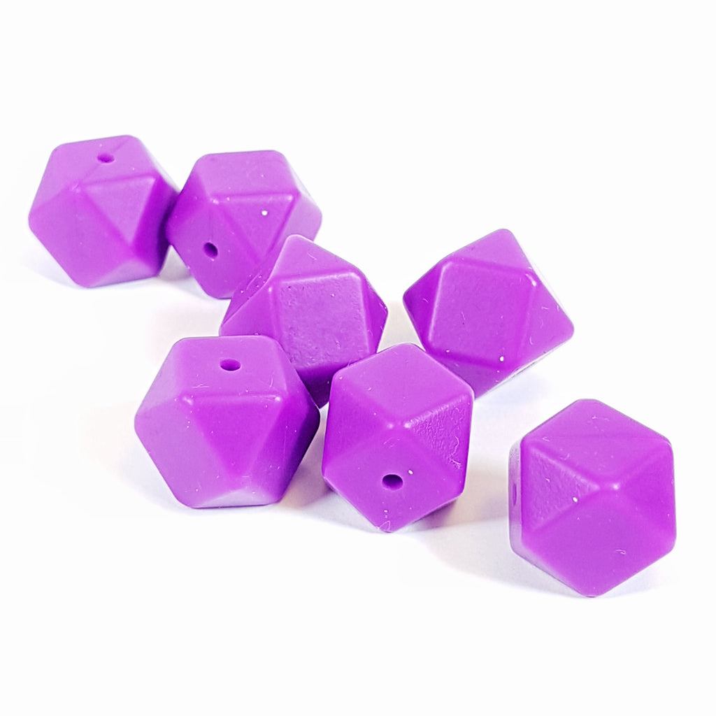 18mm Hexagon Silicone Beads - Bright purple