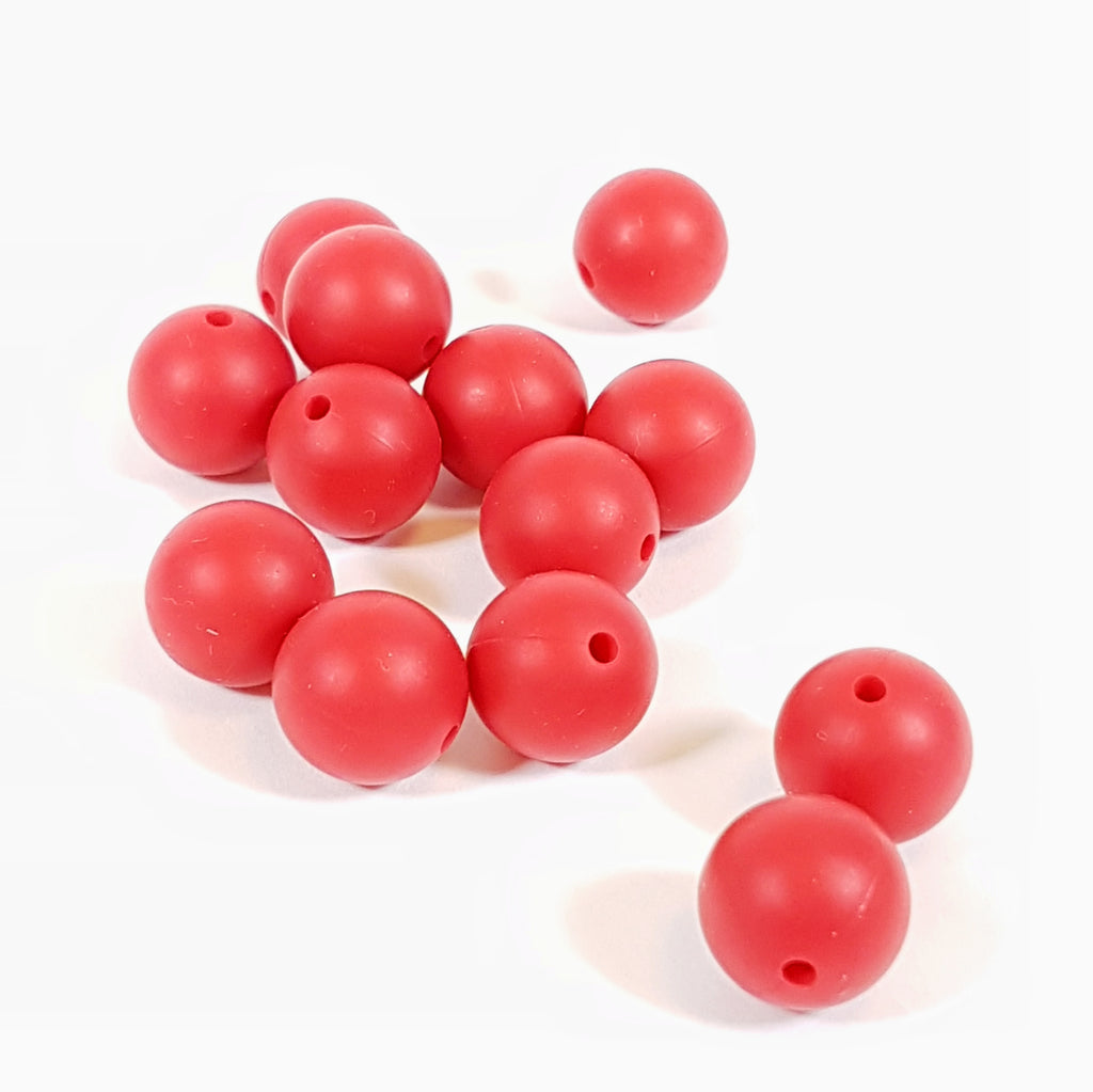 15mm Round Silicone Bead - Red