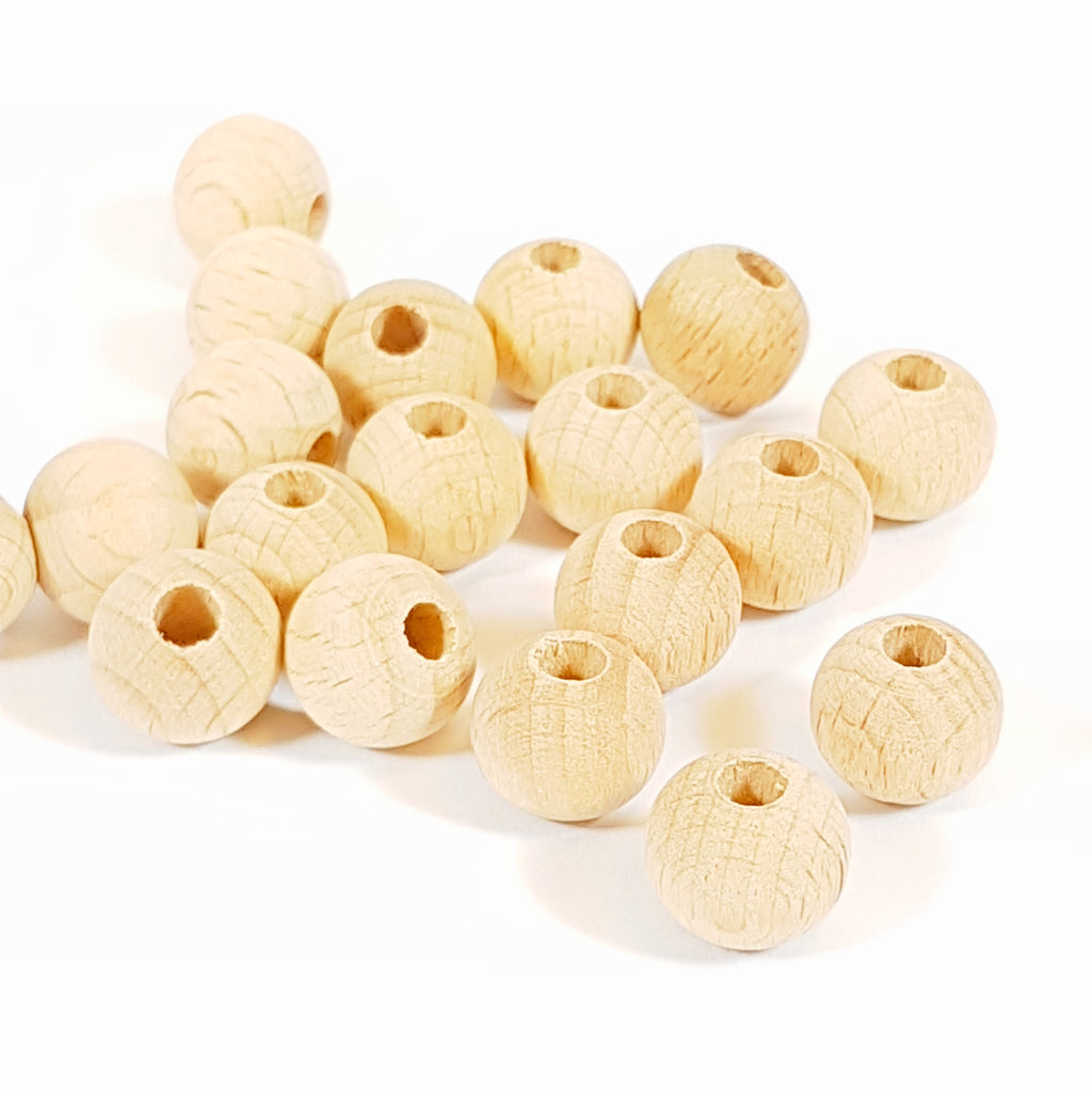 12mm Natural Wood Bead - 3mm hole