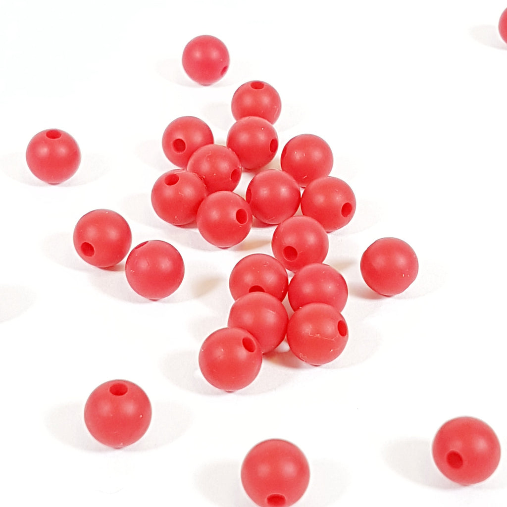 9mm Round Silicone Beads - Red
