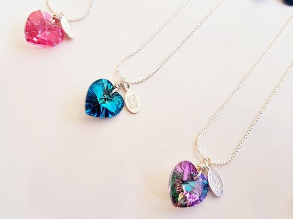 Swarovski heart necklaces on sterling silver chain.