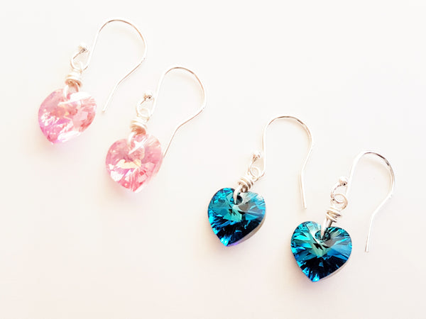 Pretty little Swarovski Heart Sterling Silver Earrings