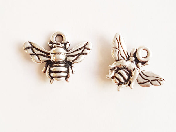 Fine silver plated bee charm made by Tierracast