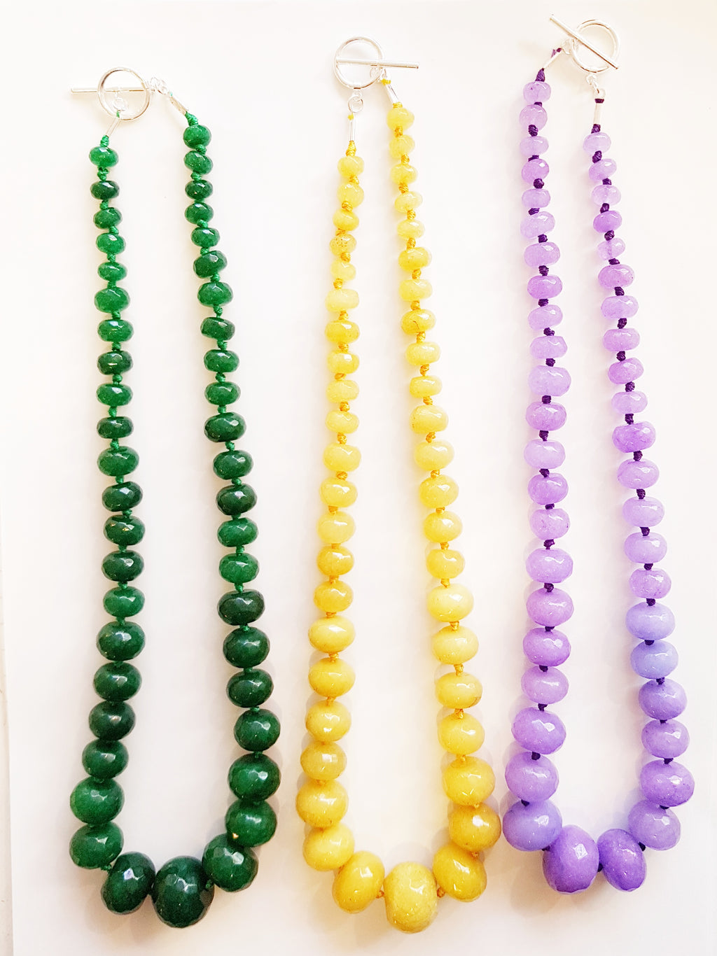 Brighly coloured dyed jade chunky beaded necklaces.
