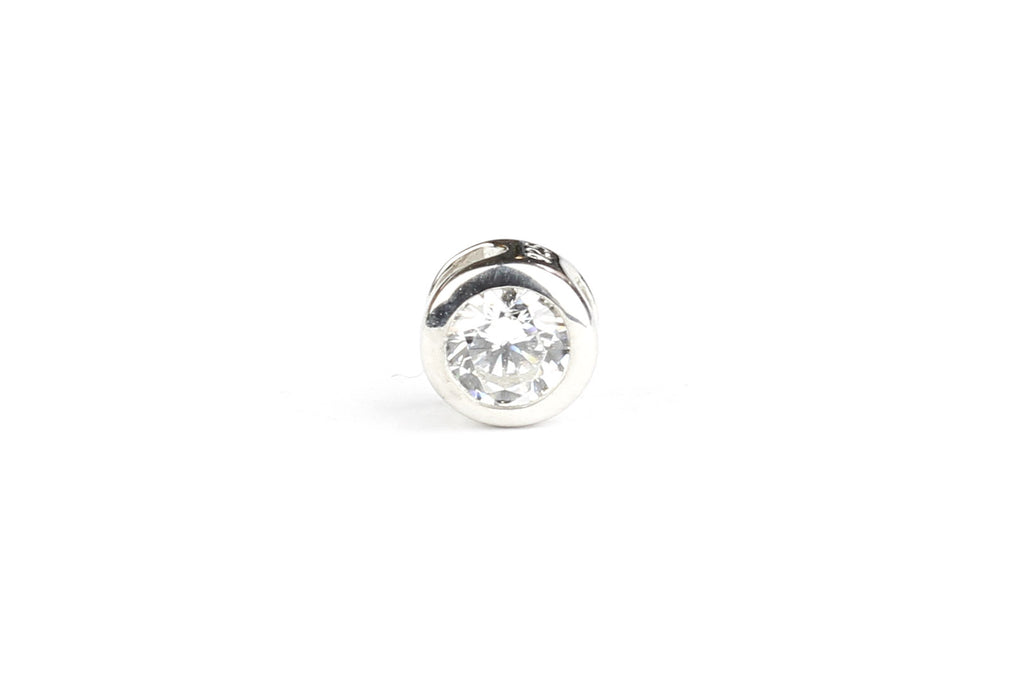 Sterling Silver Cubic Zirconia Pendant Bead – 4mm x 5mm