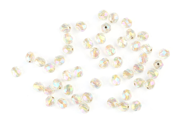 Kerrie Berrie Loose Czech Glass Round Faceted 6mm Beads For Jewellery Making Projects