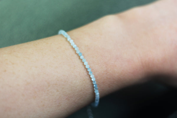 Kerrie Berrie Colourful Genuine Real Aquamarine and Silver Bracelet in Blue