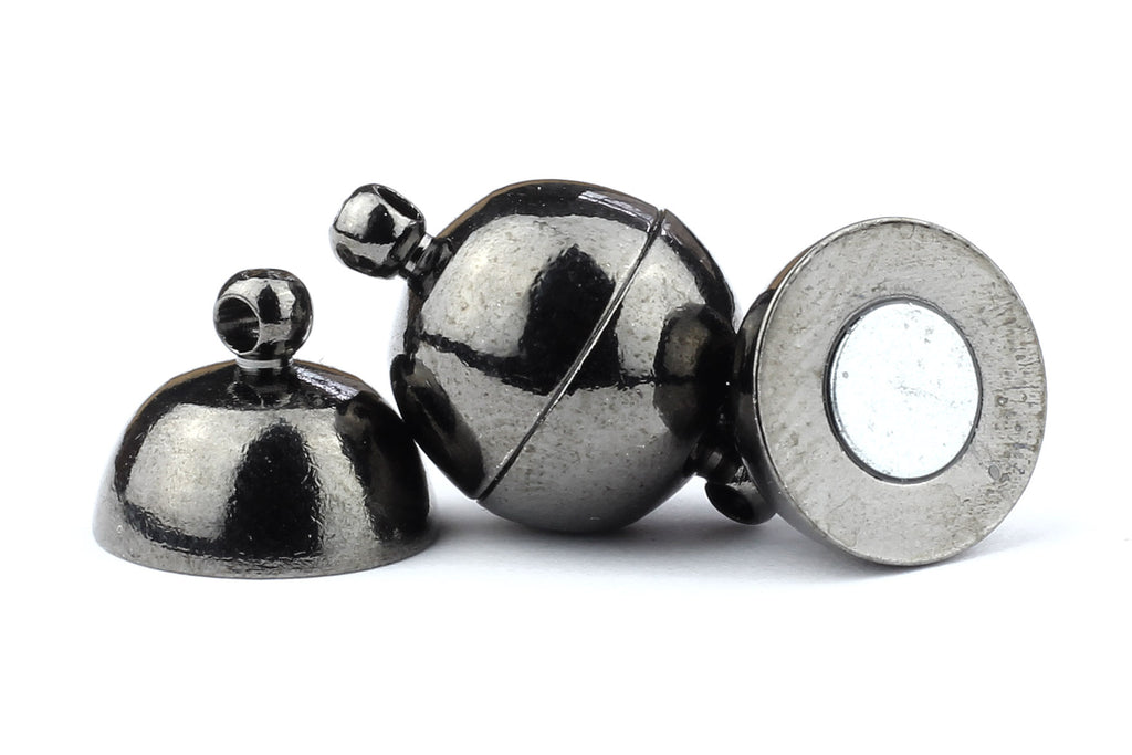 Kerrie Berrie Gunmetal Black Spherical Round Magnetic Necklace or Bracelet Clasps for Jewellery Making