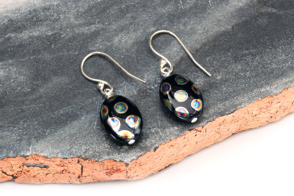 Kerrie Berrie Black Czech Glass Earrings with Sterling Silver Hooks