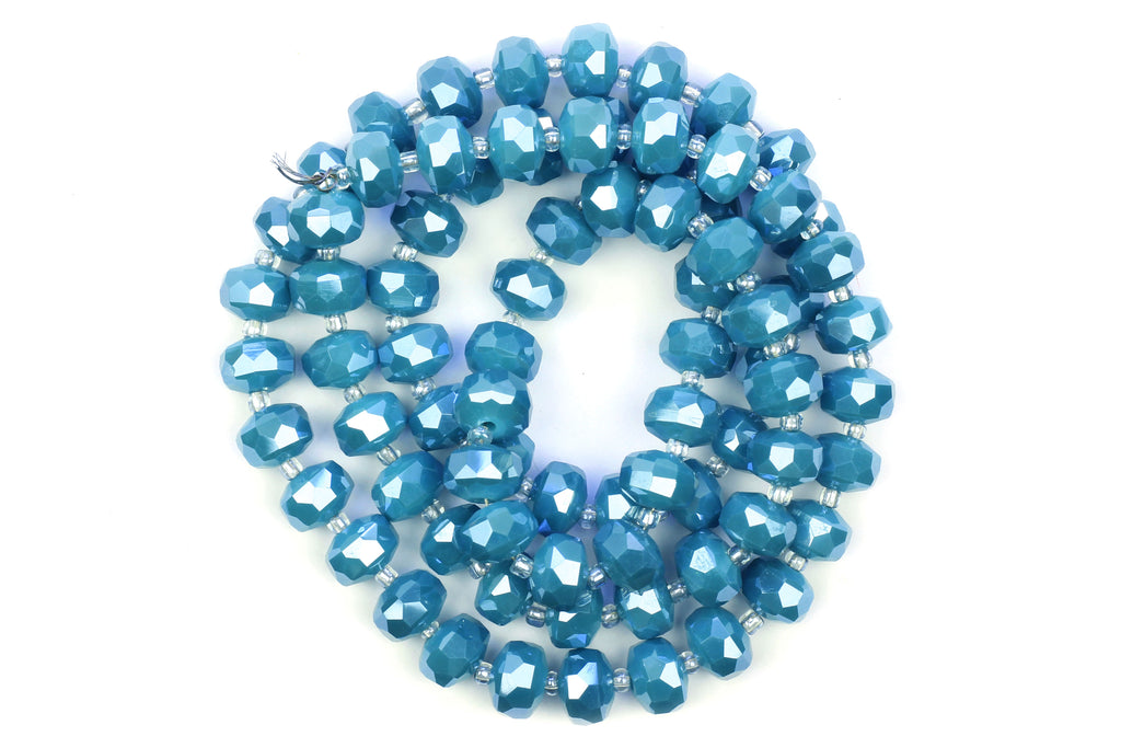 Kerrie Berrie 10mm x 6mm Faceted Crystal Glass Bead Strand in Blue