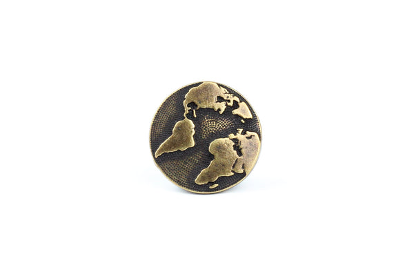 Brass Tierracast Earth / World / Globe Button – 16mm