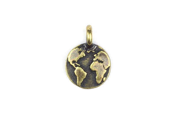 Brass Gold Globe Earth World Charm by Tierracast for Jewellery Making