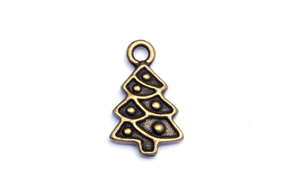 Brass Christmas tree charm.  Ideal for jewellery making and other festive crafts.