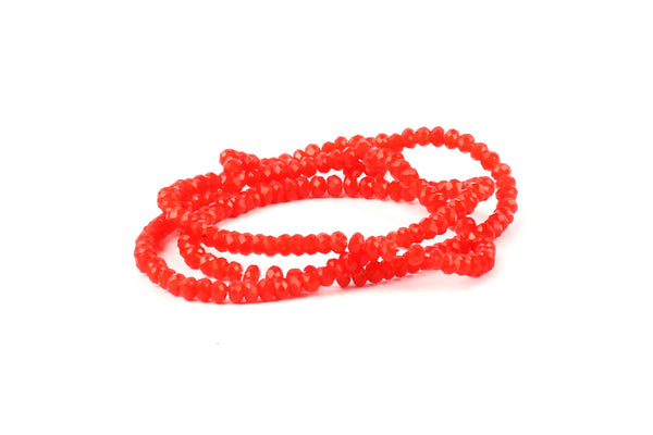 1.5mm x 2mm Bright Red Crystal Glass Faceted Bead Strand