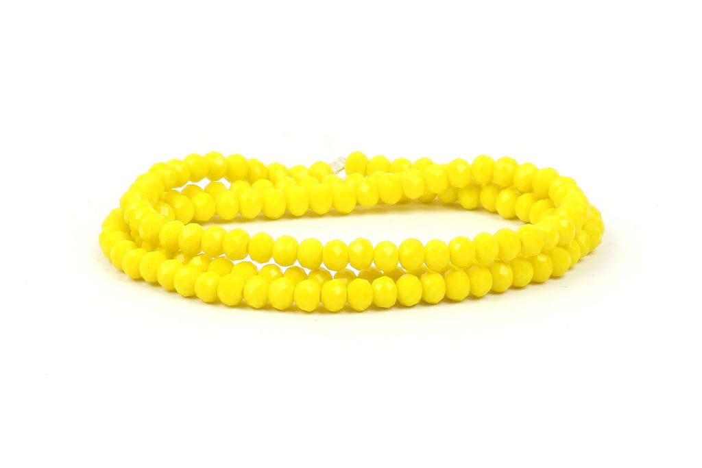 3x4mm Bright Yellow Crystal Rondelle Beads for jewellery making