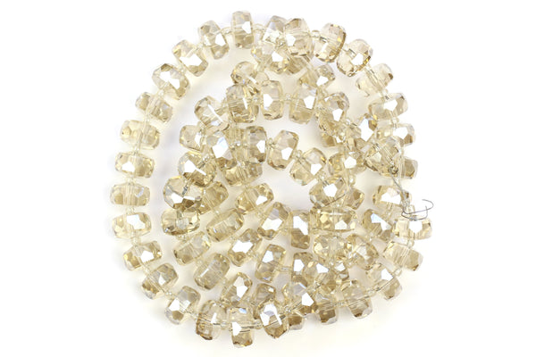 Kerrie Berrie 10mm x 6mm Faceted Crystal Glass Beads in Champagne Cream