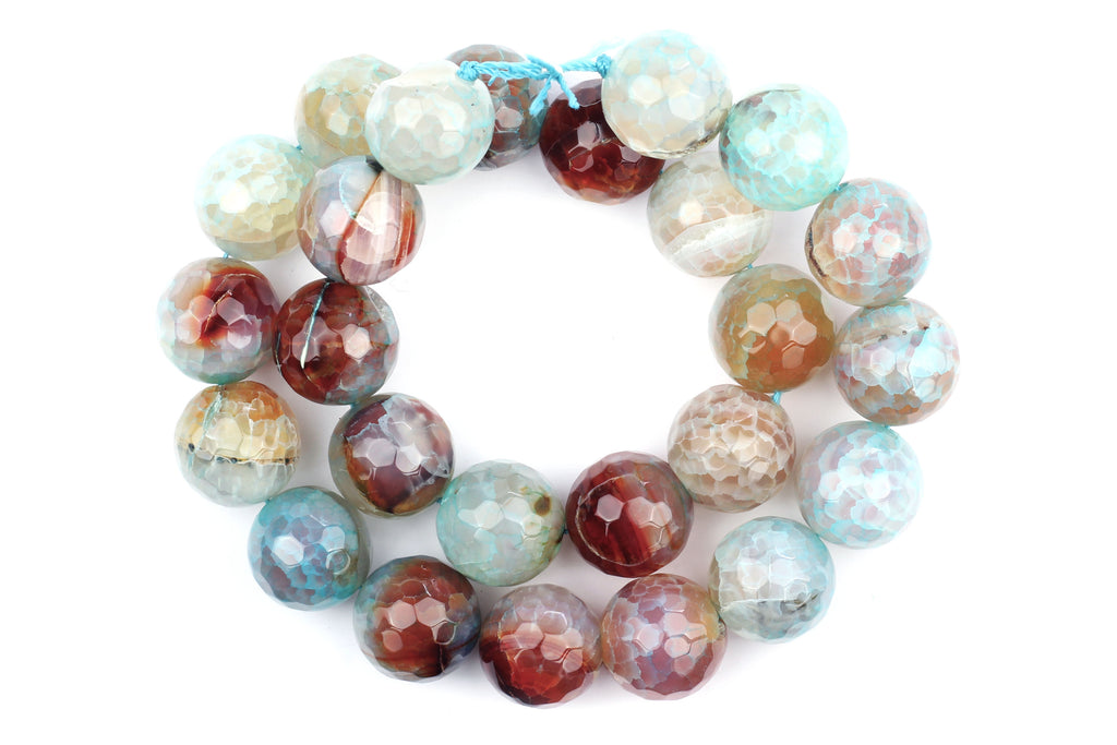 Kerrie Berrie UK Semi Precious Agate Bead Strands for Jewellery Making in Blue and Brown